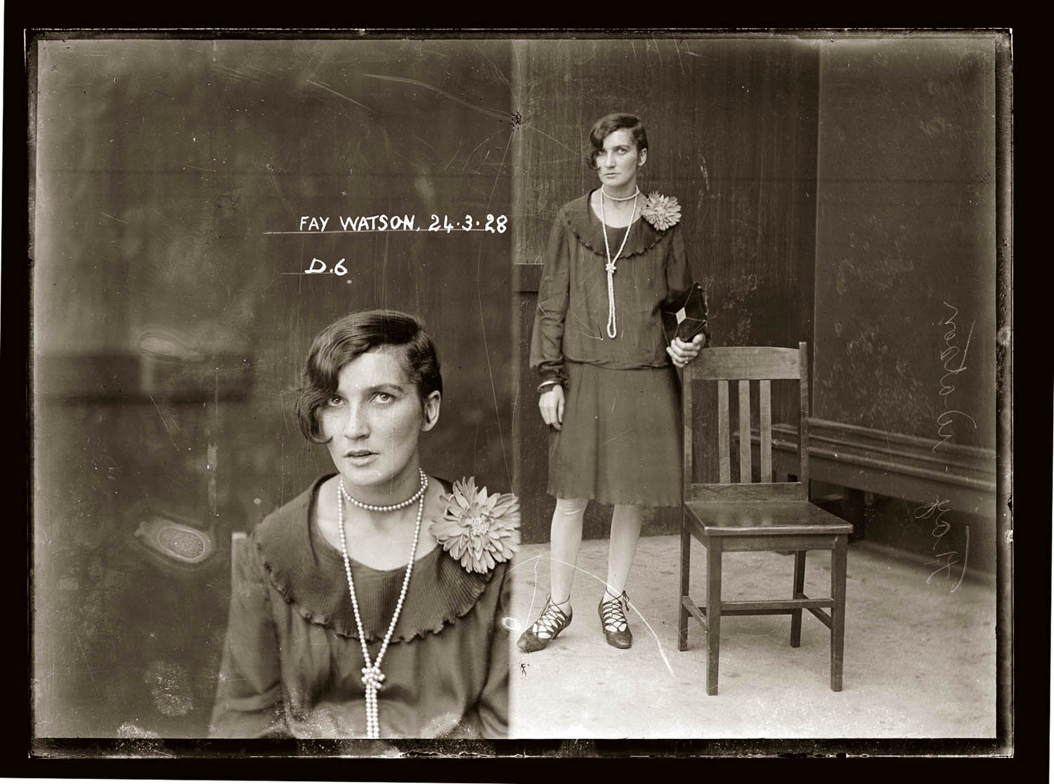 Drug Bureau mug shot of Fay Watson, 24 March 1928, Central Police Station