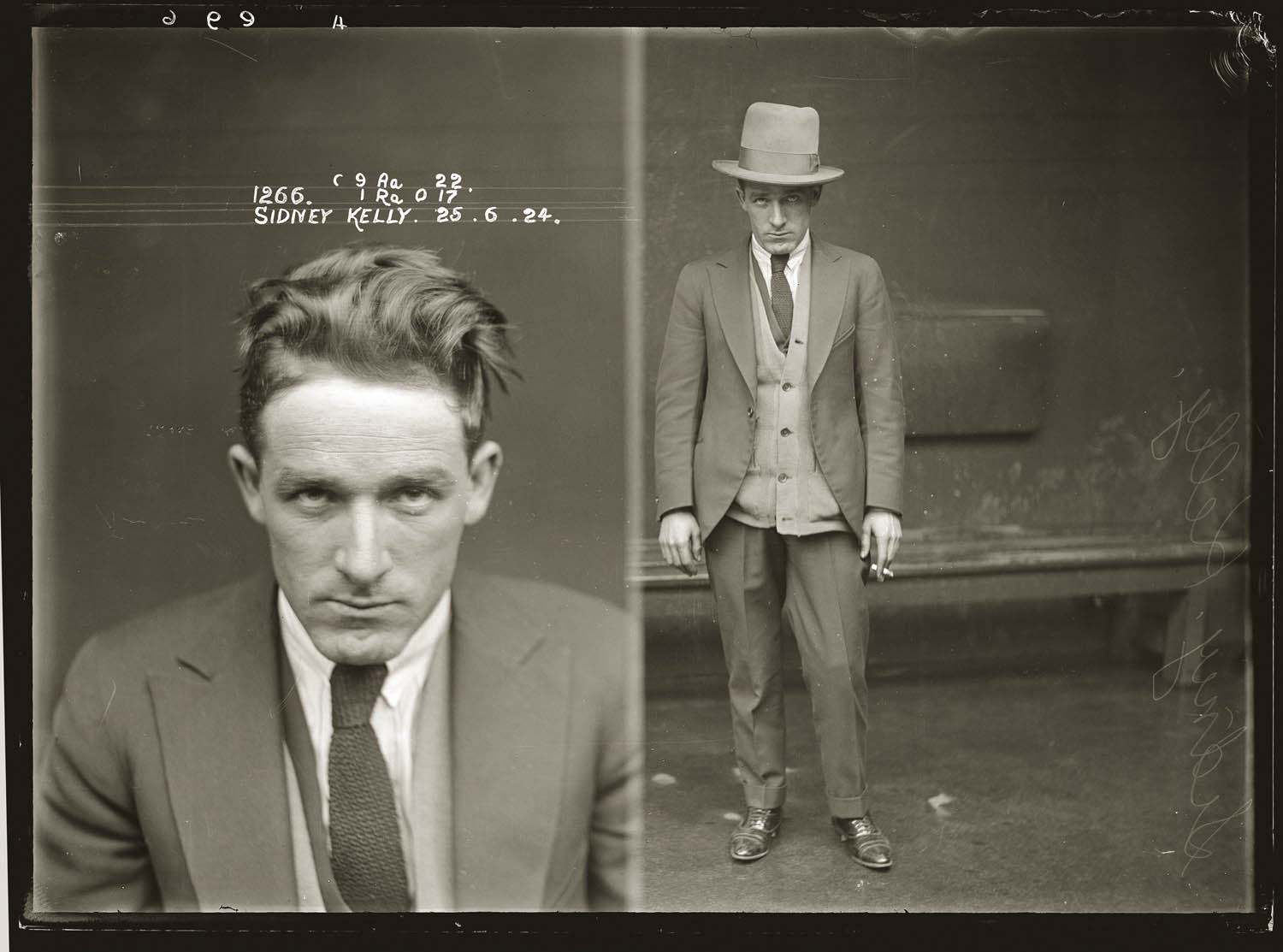 Mug shot of Sidney Kelly, 25 June 1924, Central Police Station, Sydney.