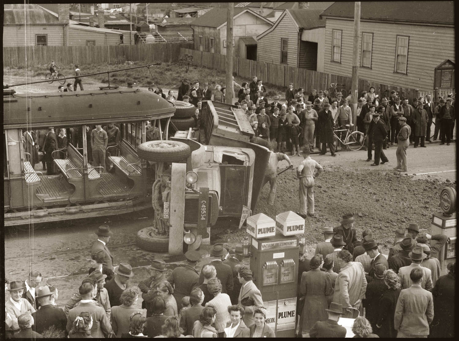 Tram and overturned dirt truck after collision, Botany Road Mascot, early 1940s.