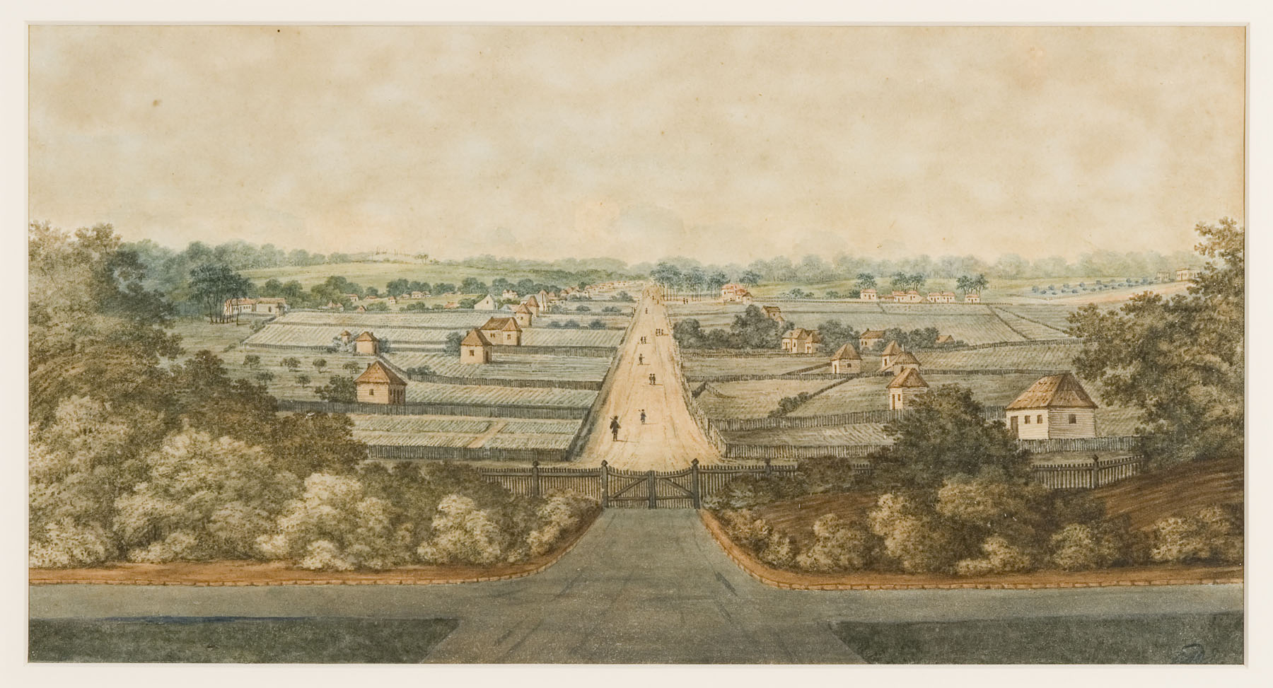 High Street [now George Street] Parramatta, from the gates of Government House, around 1804-1805