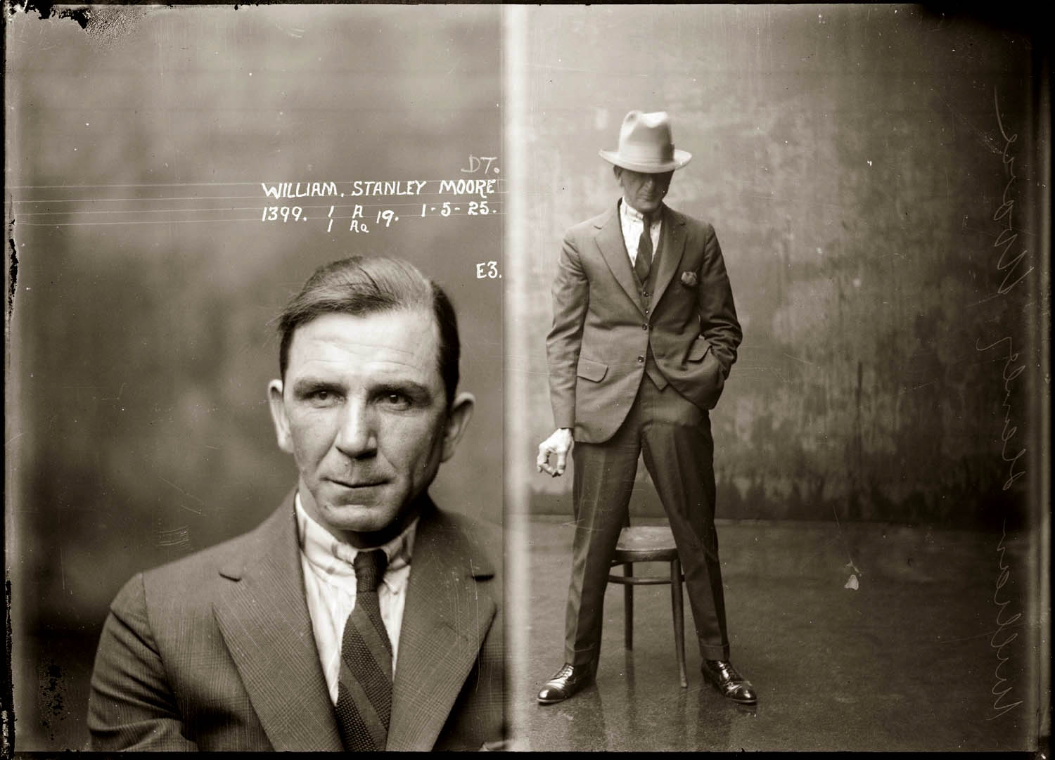 Mug shot of William Stanley Moore taken 1 May 1925, Central cells.