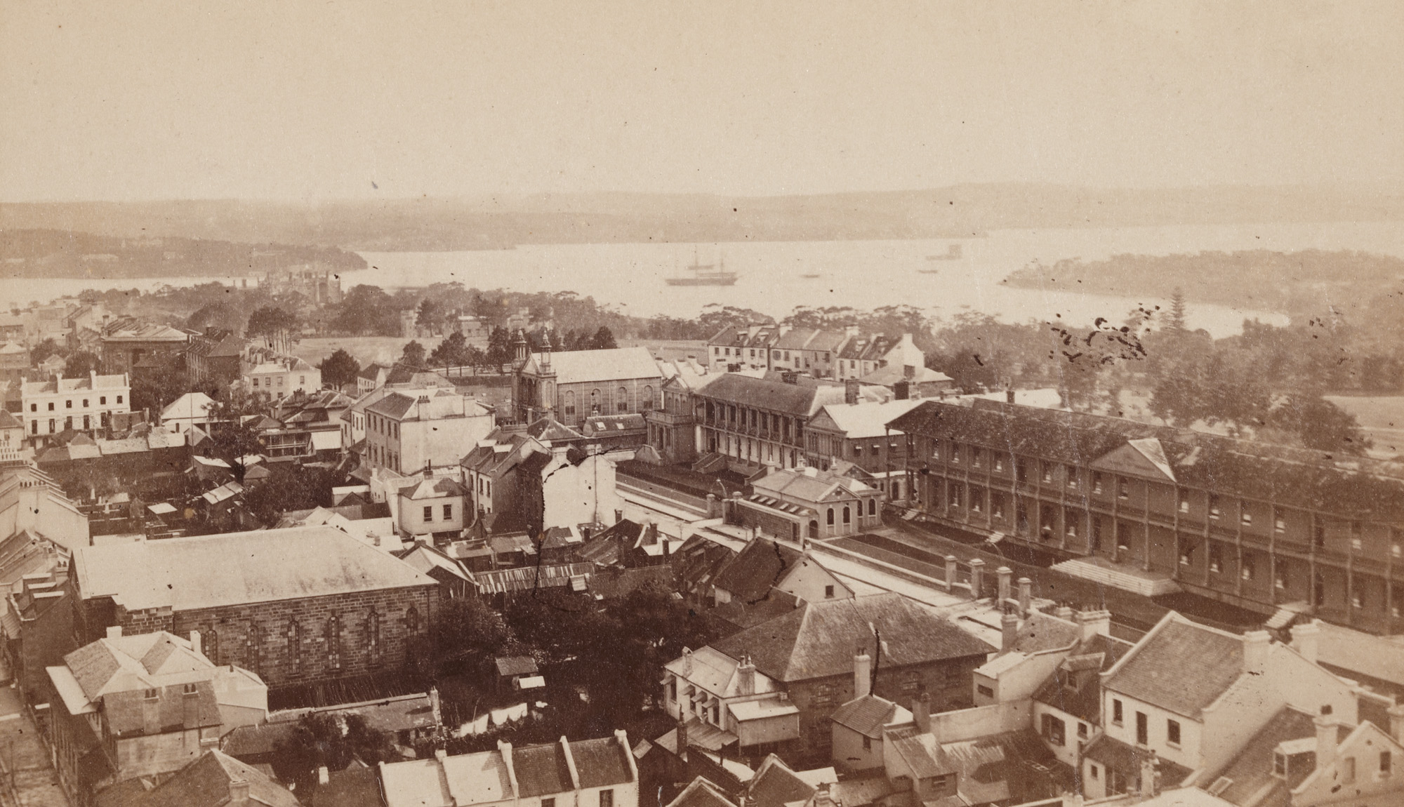 Panoramic view of Sydney, looking north-east across Macquarie Street towards Fort Denison, ca.1871 / photographer unknown