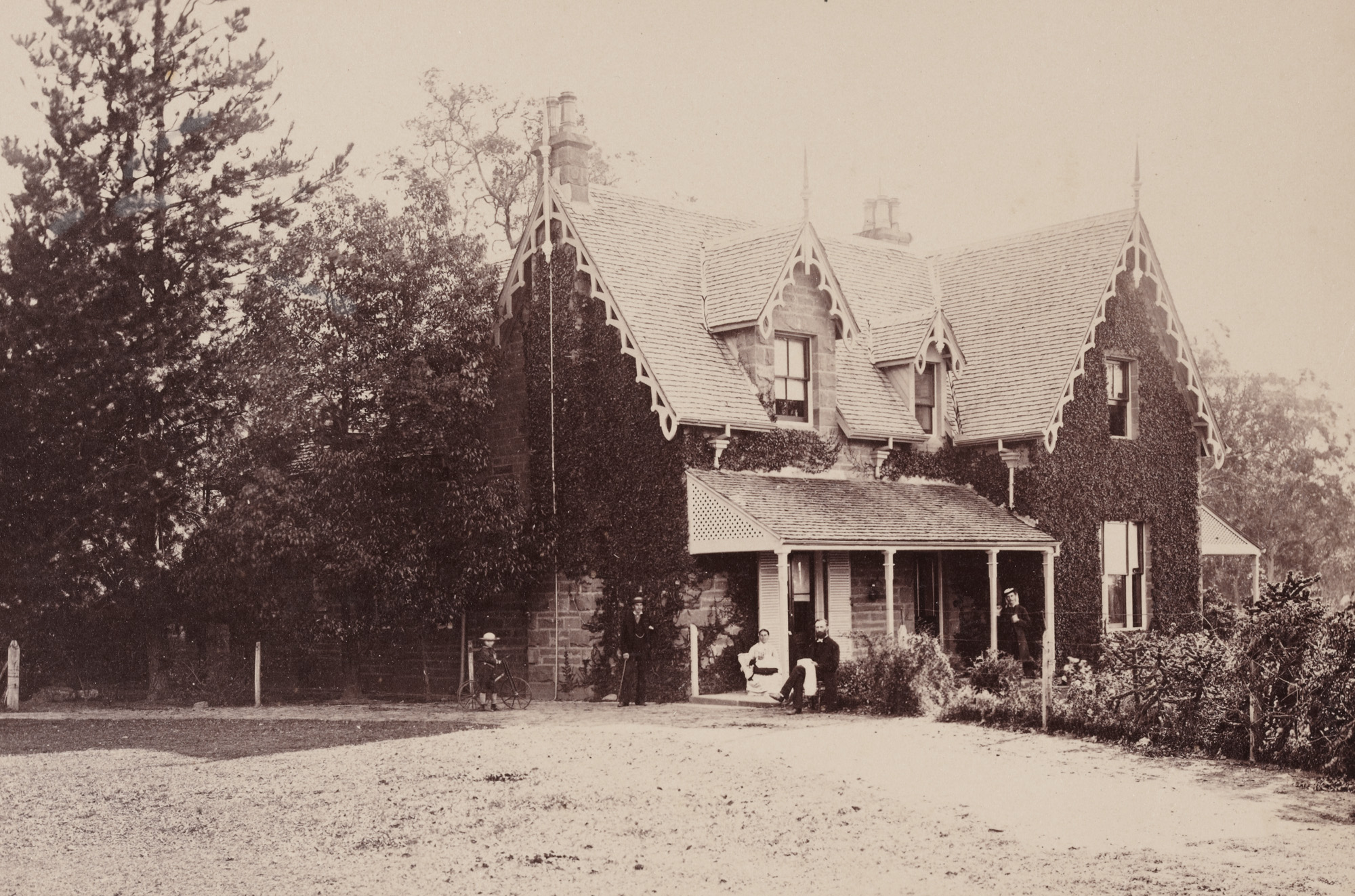 Reverend Arthur Wellesley Pain and members of his family at the Parsonage, Cobbity, c1877 / photographer unknown