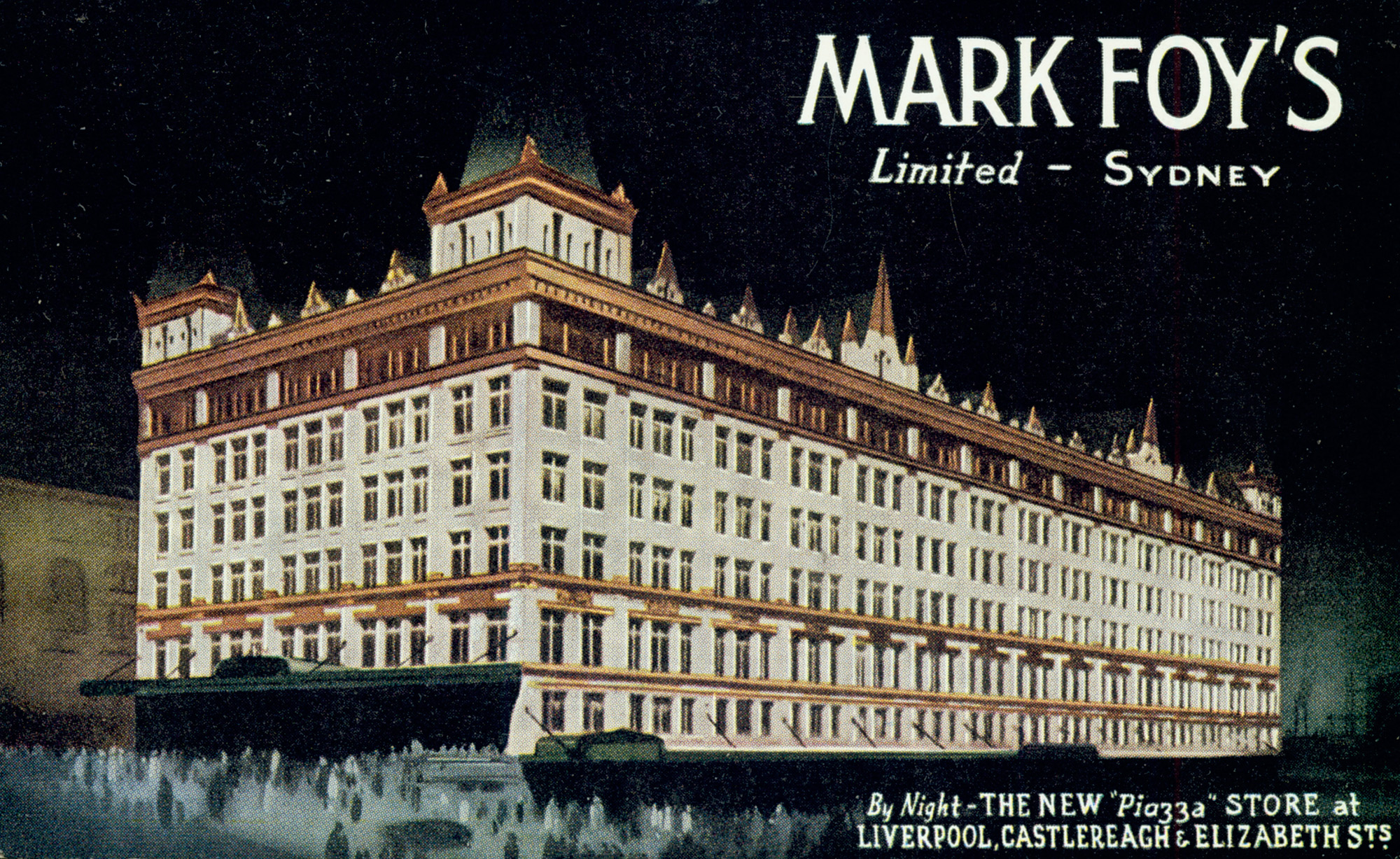 [Mark Foy's Limited, Sydney - the new 'Piazza' store at Liverpool, Castlereagh & Elizabeth Streets, by night / artist unknown