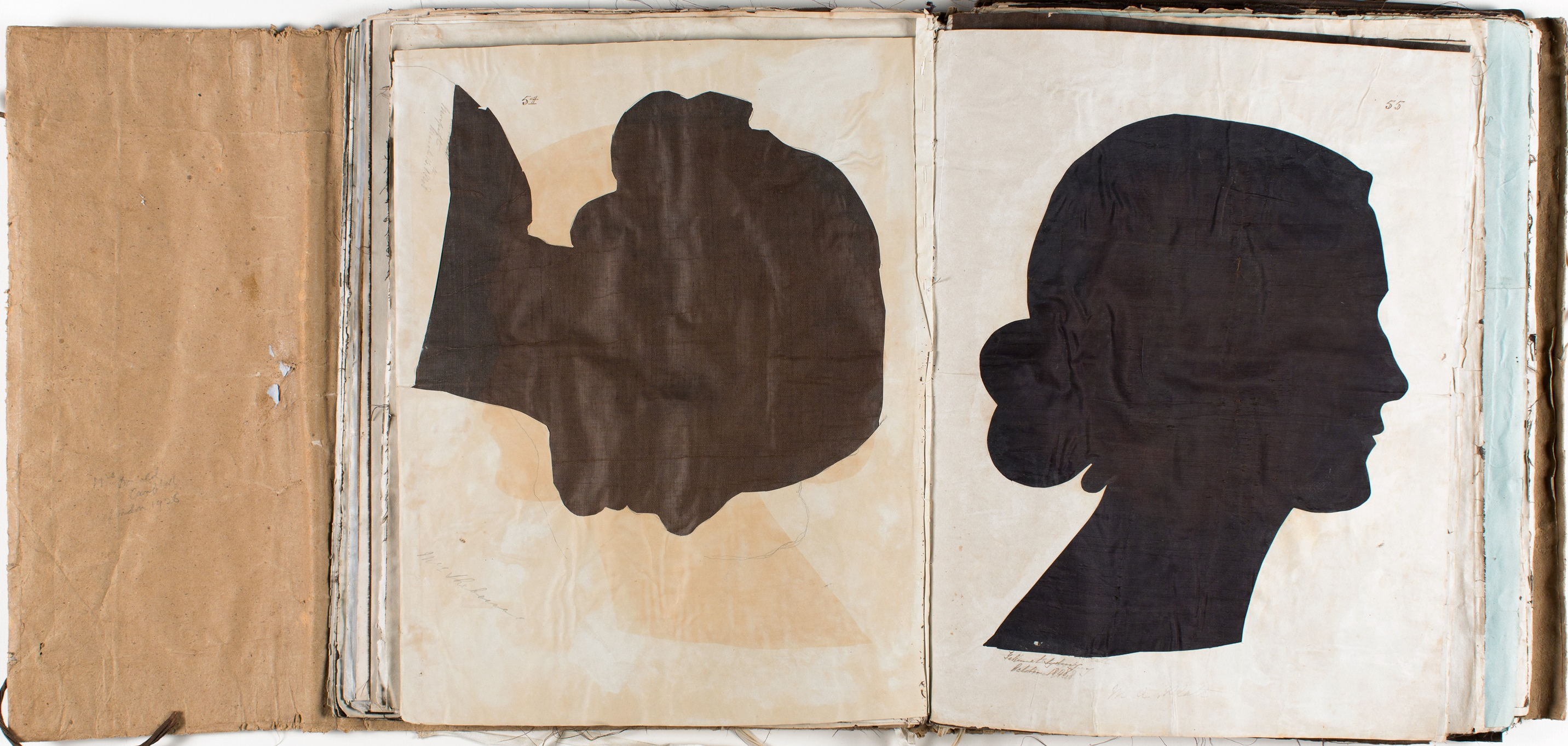 Silhouette likenesses of (left) Mrs Jane Scheberras (c1821-1902) and (right) Mary Ann Platt (1823-1879) / by Marianne Collinson Close