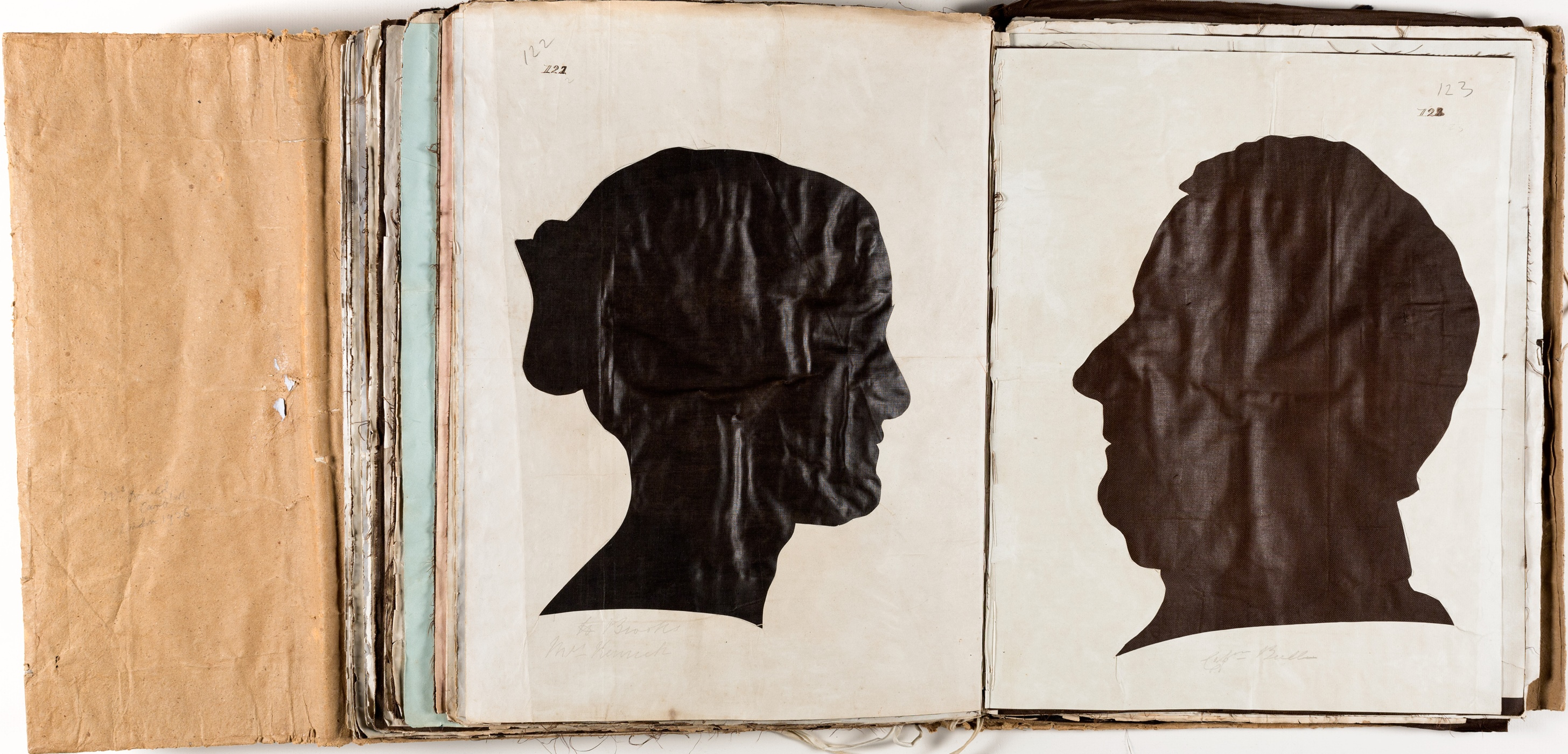 Silhouette likenesses of (left) Miss Hannah Euphemia Brooks  (1829-1915) and (right) Capt John Edward Newell Bull (1806-1901) / by Marianne Collinson Close