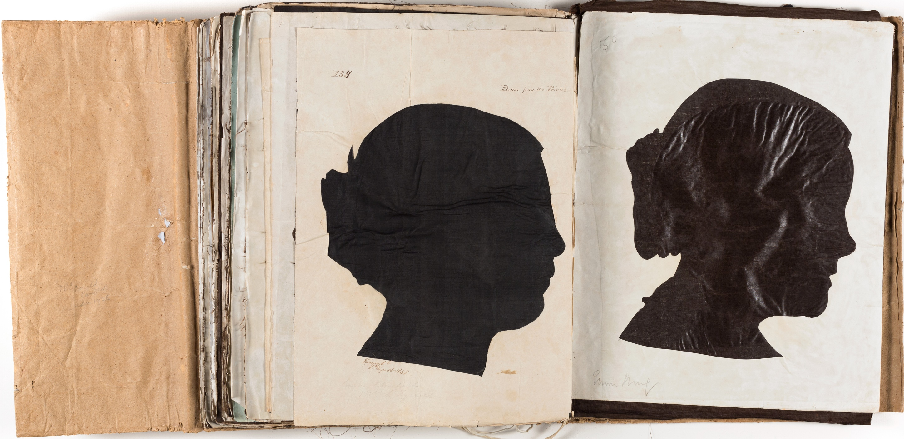 Silhouette likenesses of (left) Miss Louisa Blomfield (1828-1858) and (right) E... King / by Marianne Collinson Close