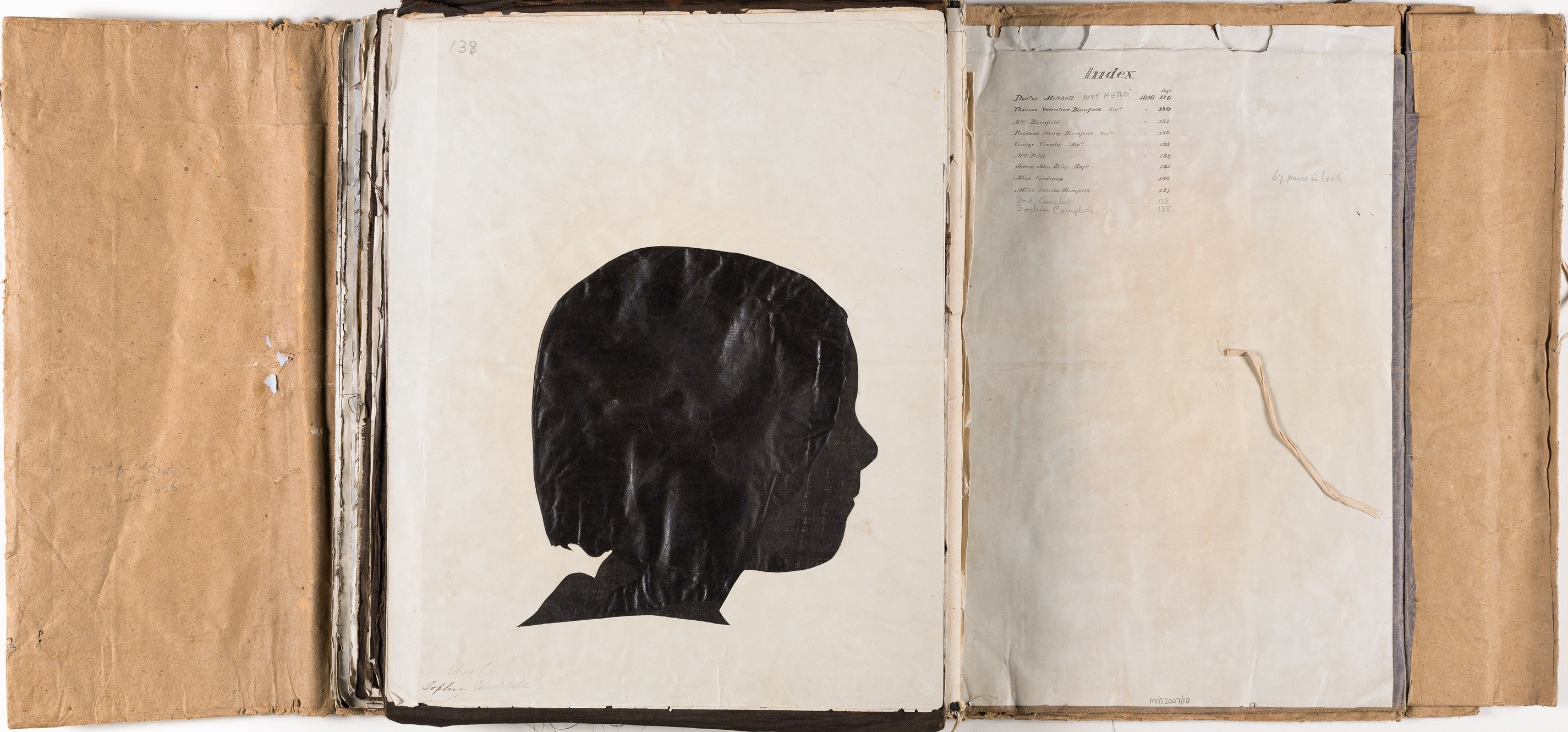 Silhouette likeness of Sophie Campbell (1848-1929) and album index page / by Marianne Collinson Close