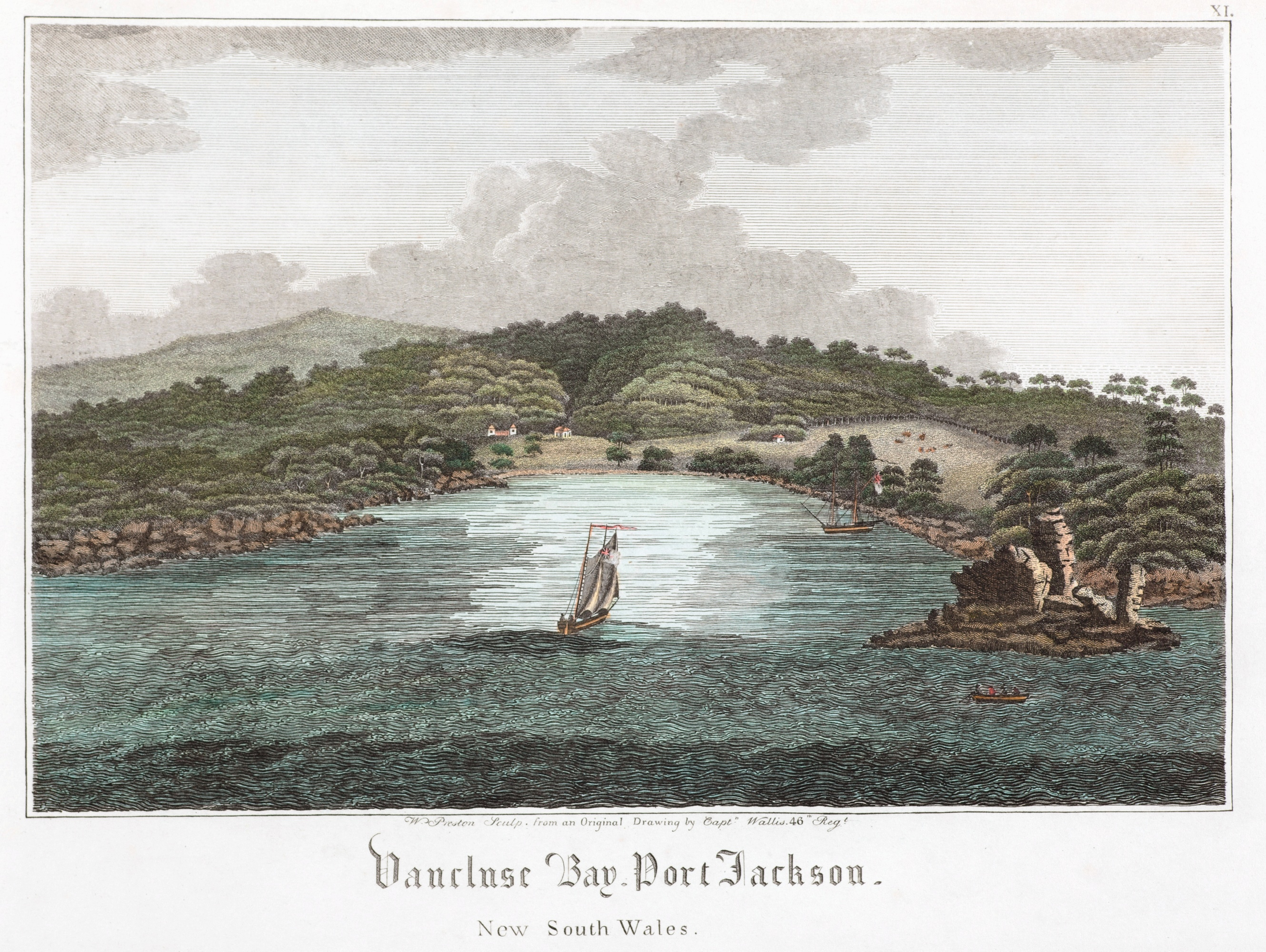 Vaucluse Bay, Port Jackson, New South Wales, 1820 / engraved by Walter Preston, from a drawing by James Wallis
